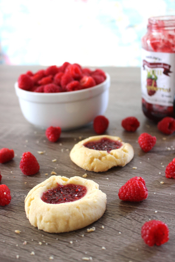 Raspberry Thumbprint Shortbread Cookies at Sweetie Pie and Cupcakes