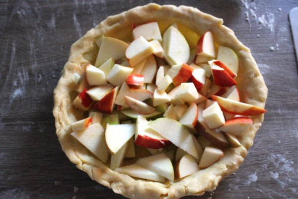 Chopped apples in a pie dough crust