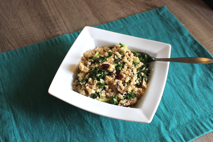 healthy couscous with mushrooms and kale