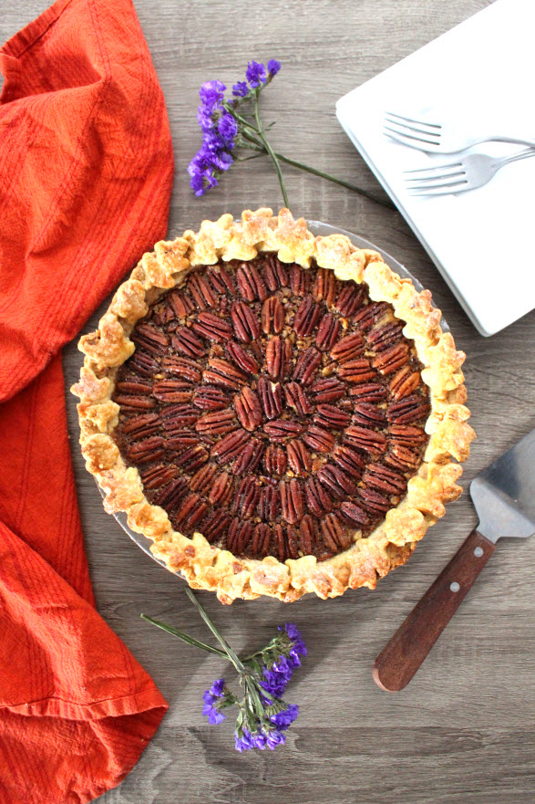 Award Winning Bourbon Pecan Pie with Almond Crust
