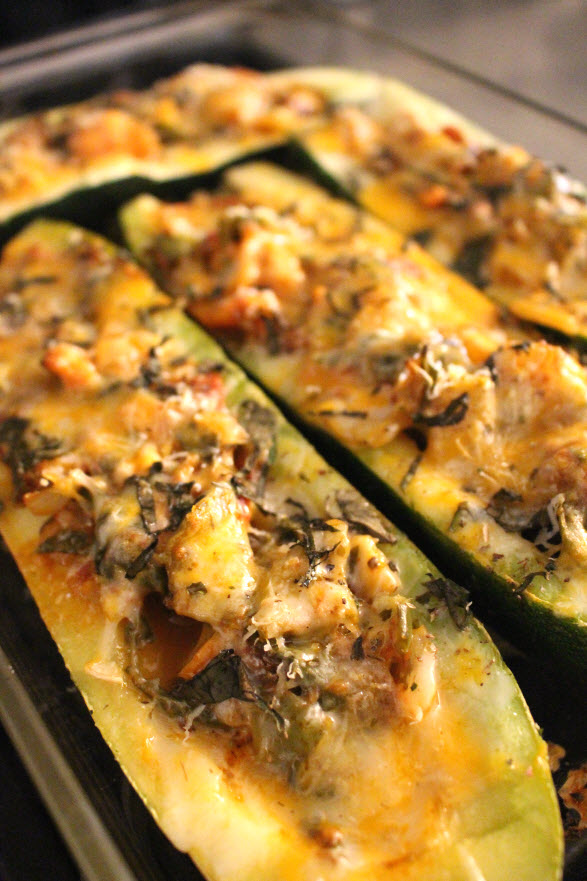 zucchini boats with tomato sauce Italian style