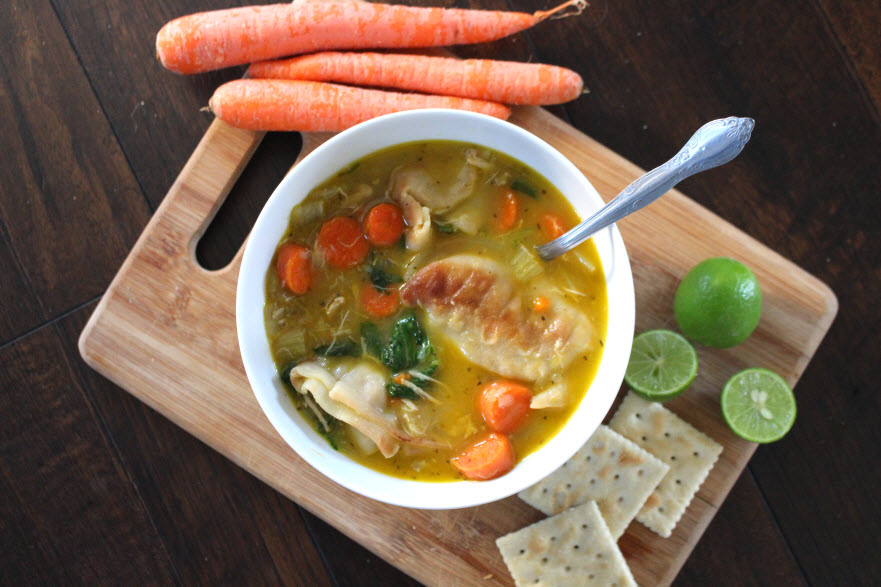 potsticker soup with chicken or vegetable broth