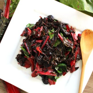 Grilled Swiss Chard with Cherries