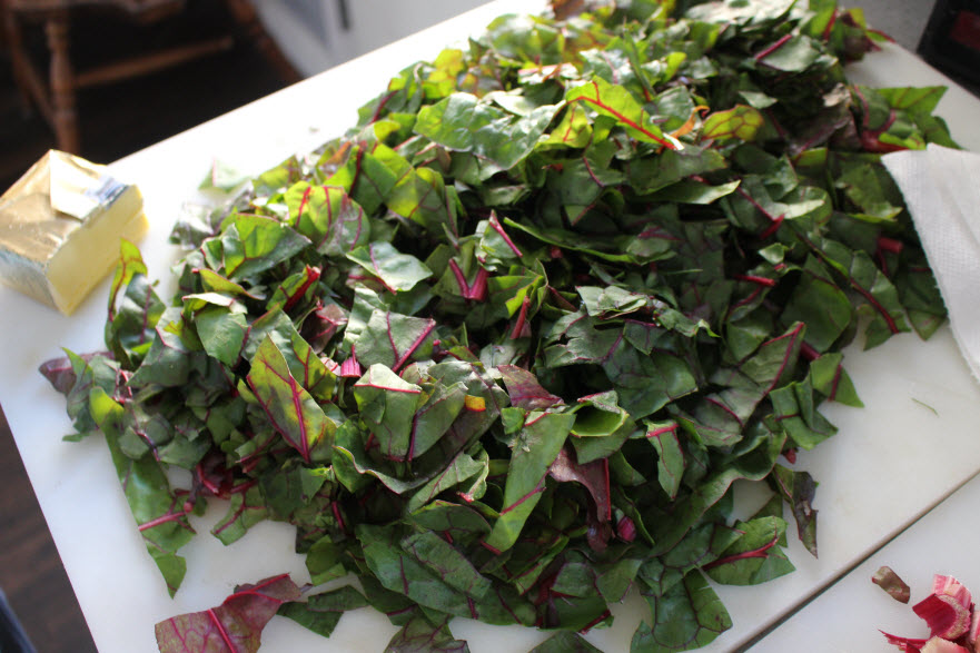 Swiss Chard Leaves chopped