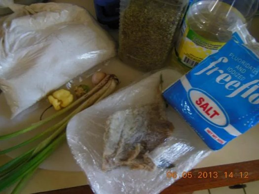 Jamaican food - Salt fish fritters ingredients