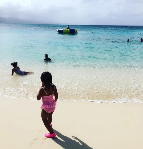 Anya loved the beach in Jamaica