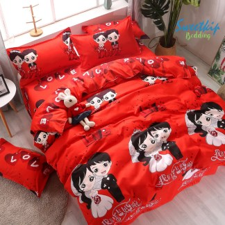 ชุดเครื่องนอน ผ้านวมพร้อมผ้าปูที่นอน ลายคู่รักสีแดง