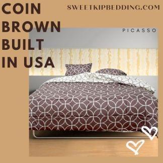 ผ้านวม Picasso ลาย Coin Brown รุ่น Built In USA