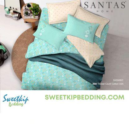 ผ้านวม Santas รุ่น-Showbiz สีฟ้า-ขาว ลายจุด