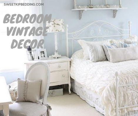 แต่งห้องนอนผ้านวมสีขาวสไลต์วินเทจ
