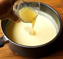 Stir gelatine to custard mixture