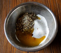 Stir in butter, nuts, vanilla extract