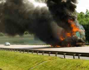 Big Rig Catches Fire after Accident on Highway 99 [Pleasant Grove, CA]