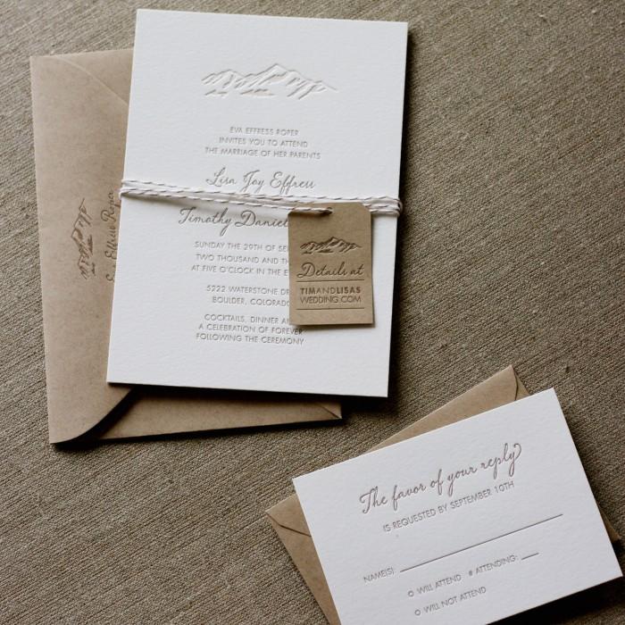 Elegant Mountain Letterpress Wedding Invitation Invitations Eco Friendly Hand Crafted Boulder Colorado