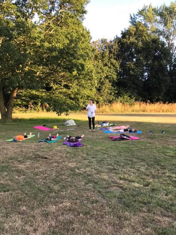 Yoga class for children in the park