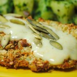 Pepita Crusted Tilapia with Tomatillo Cream Sauce and Cilantro Potatoes