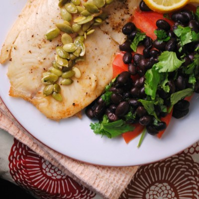 Tilapia with Lemon Pepita Sauce
