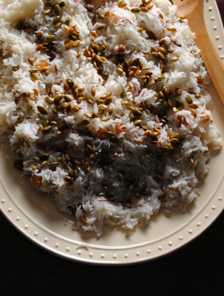 rice with saffron, raisins