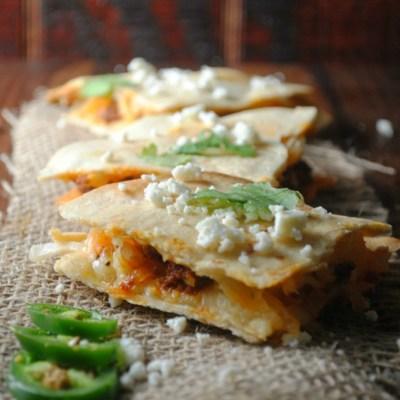 Chorizo and Potato Quesadillas with Spicy Ranchero Dipping Sauce