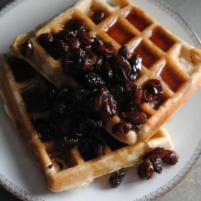 Banana Bread Waffles with Bourbon-Raisin Syrup