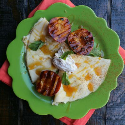 Honey Cream Cheese Filled Crepes with Grilled Peaches