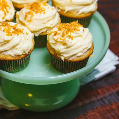Coquito Cupcakes with Toasted Coconut