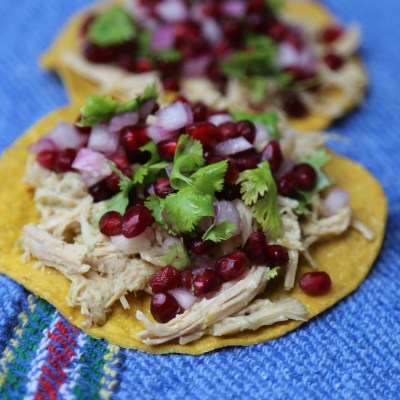 Shredded Chicken Tostadas with Pomegranate Salsa