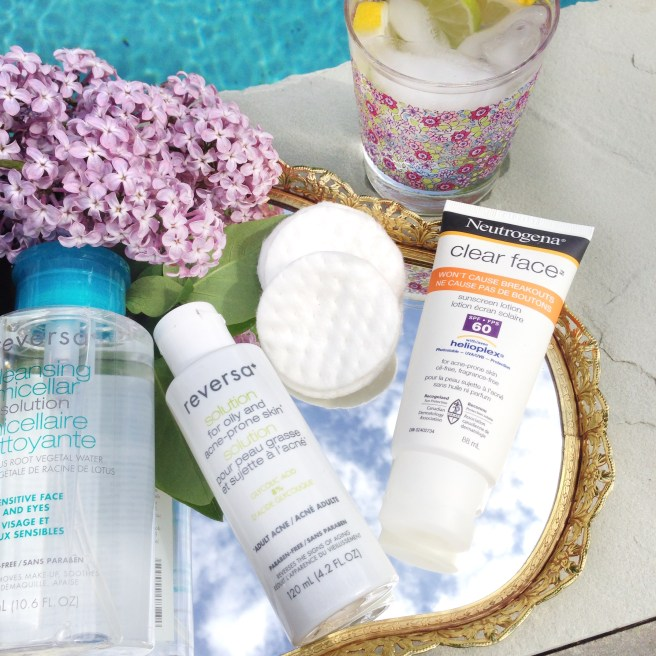 Reversa Cleansing Micellar Solution, Reversa Solution for Oily and Acne Prone Skin, Neutrogena Clear Face Sunscreen Lotion
