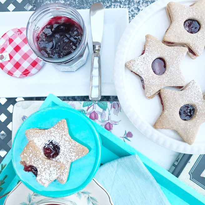 Linzer Cookies and Bonne Maman Black Cherry Spread