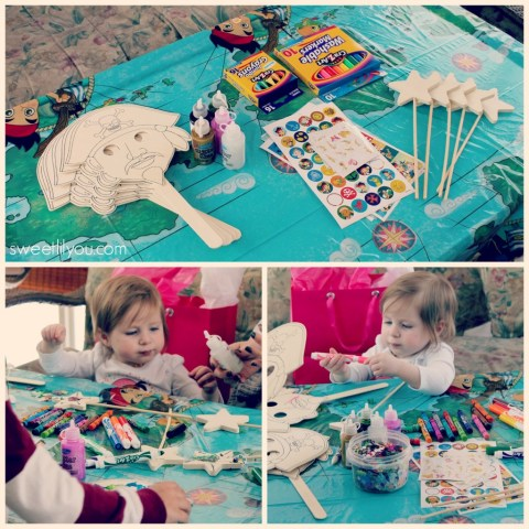 The Craft table at our #DisneySide party Pirate masks and Pixie Fairy wands! #Sponsored
