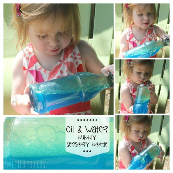 Oil & Water Sensory Bottles for Toddlers via sweetlilyou.com