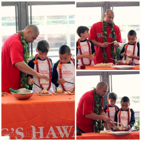 The kids from the Boys & Girls Club cooking with SHane Victorino from the Red Sox using Kings Hawaiian products