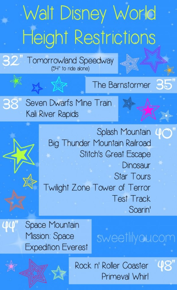 Walt Disney World Height Requirements Chart
