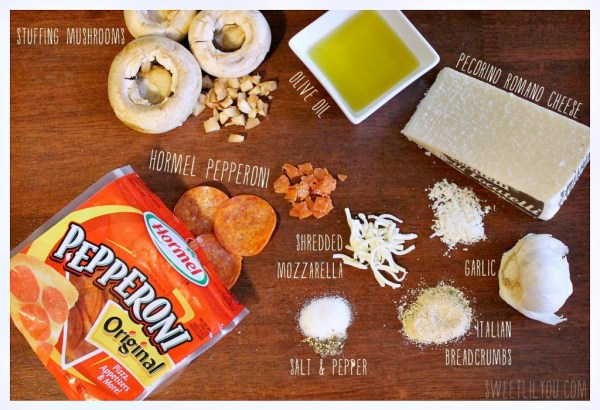 Pepperoni Stuffed Mushrooms - Ingredients #PepItUp #ad