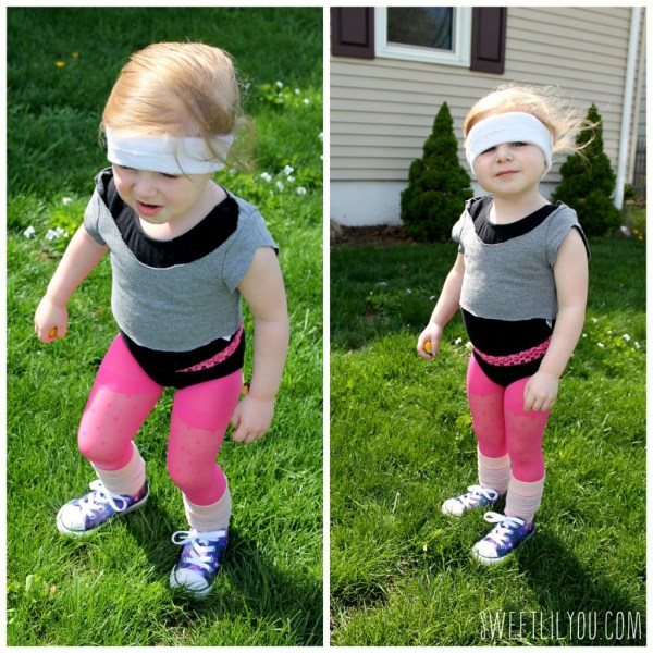 Avery dressed in 80s workout costume