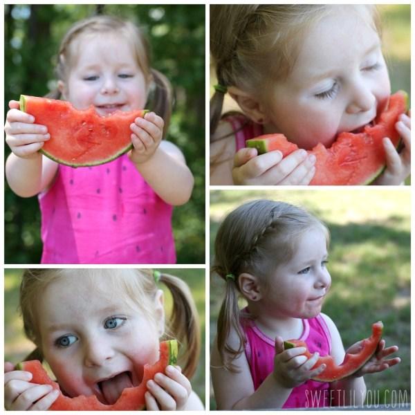 Avery eating watermelon