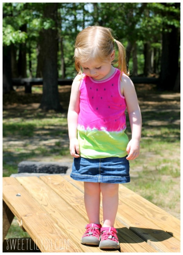Photo of Avery wearing her DIY watermelong tank top