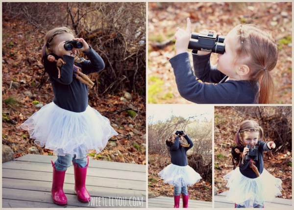 Avery with binoculars