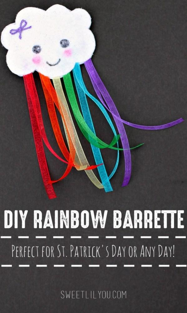 DIY Rainbow Barrette Easy St Patricks Day Craft