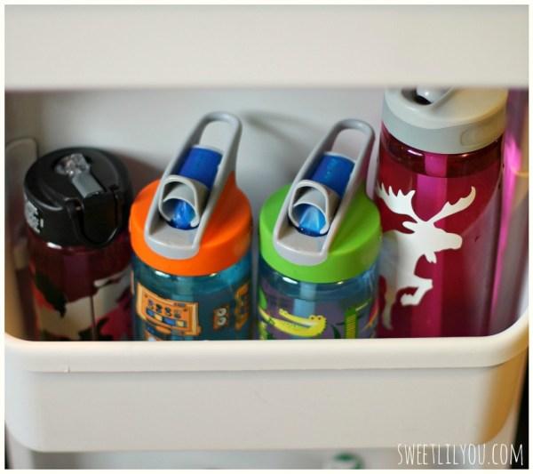 water bottles in fridge