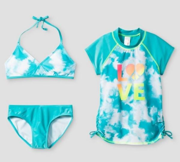 Love Tie Dye Bikini and Rash guard set