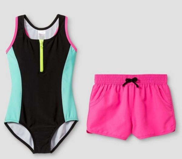 Sporty girls bathing suit with shorts