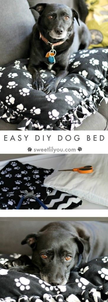 Easy DIY Dog Bed Fleece Blanket Dog Pillow