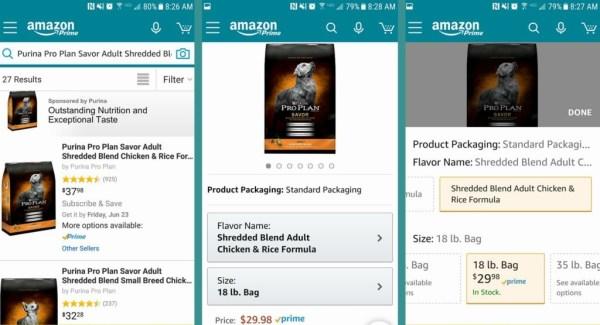 Order on Amazon app