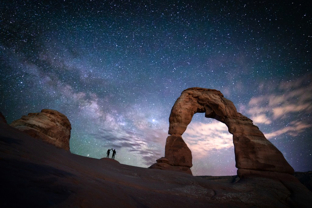 Milky Way rising behind Delicate Arch in Arches National Park