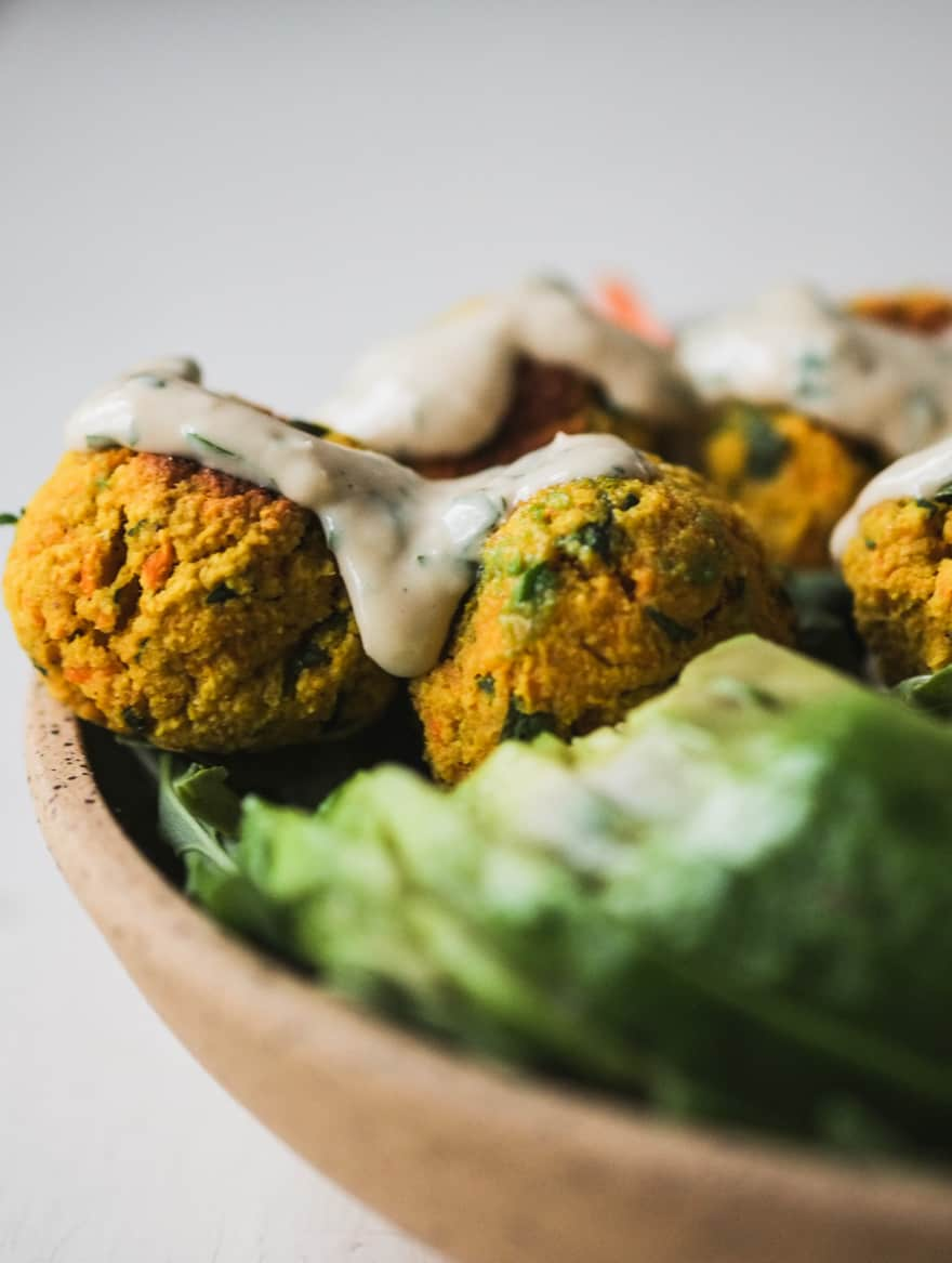 Whole30 falafels with garlic tahini sauce