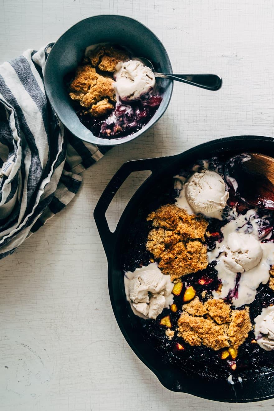 blueberry, peach and basil cobbler (paleo and vegan)