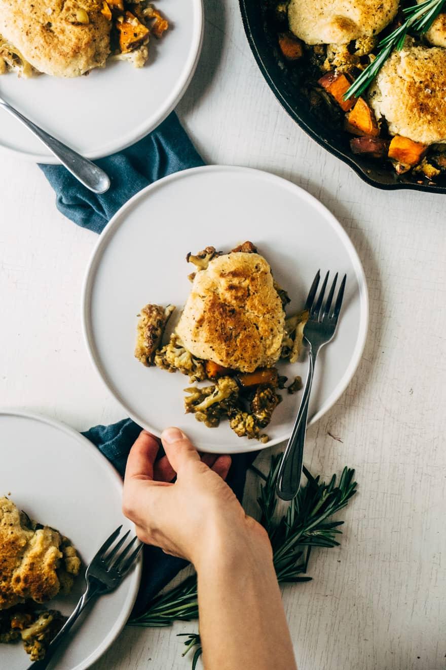 paleo and vegan cauliflower cobbler