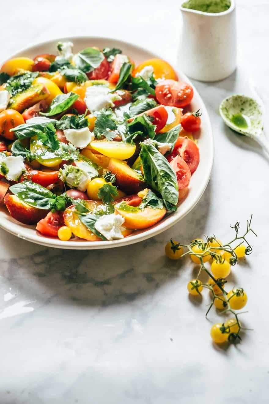 tomato and peach salad