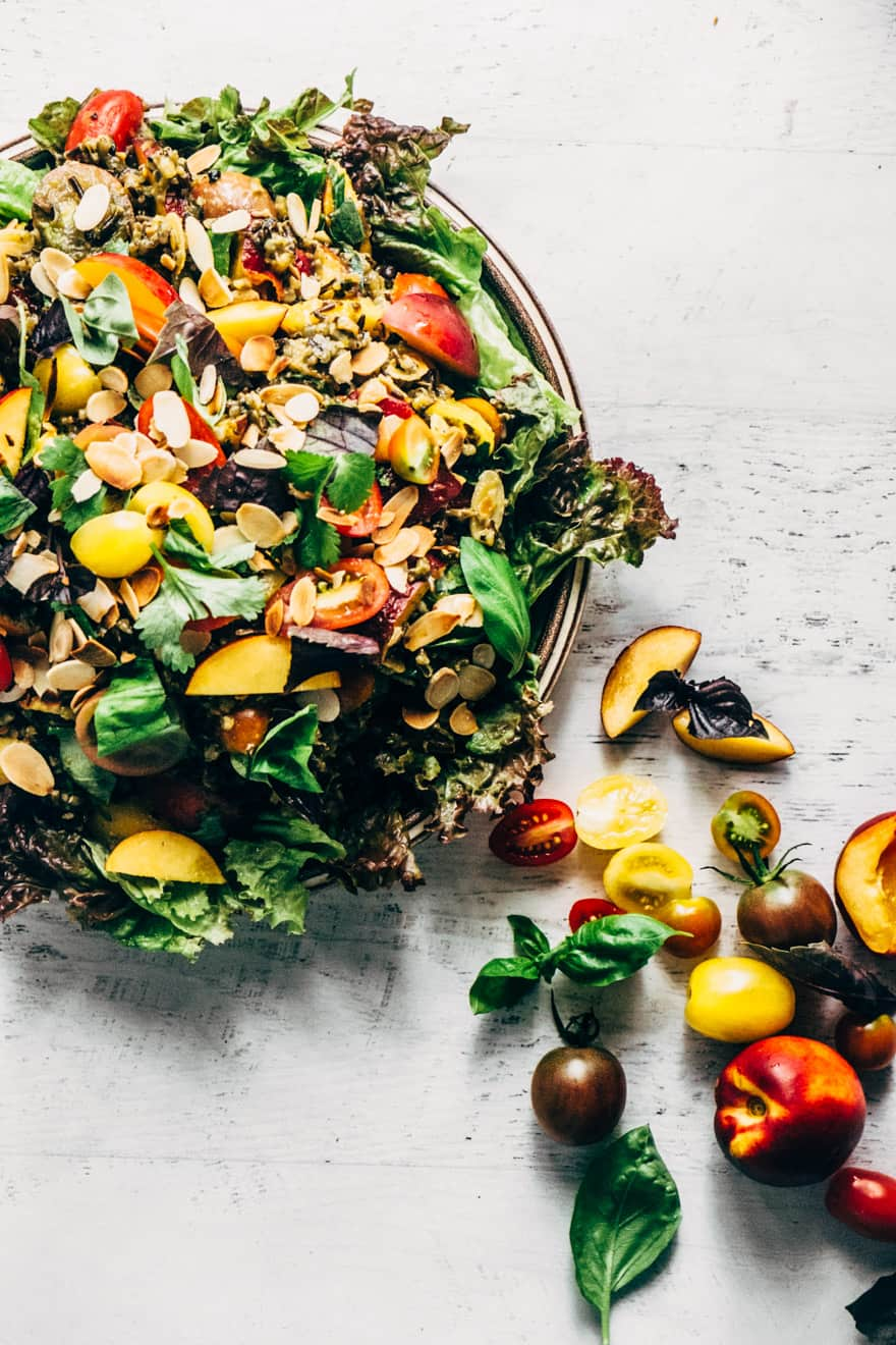 wild rice and nectarine salad #healthy #salad #nectarine #tomatoes